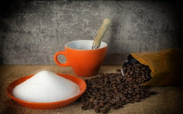 зерна, кофе, сахар