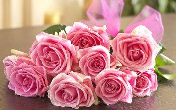 бутоны, розы, букет, розовые, бант