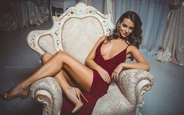 интерьер, платье, поза, брюнетка, комната, сидит, ножки, макияж, прическа, фигура, туфли, в красном, в кресле, сексуальная, андрей крымовский