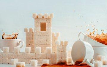 замок, чай, чашки, сахар, рафинад