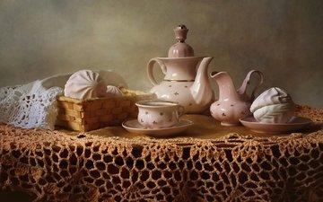 чай, посуда, зефир, скатерть, сервиз