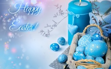 blue, candle, easter, eggs, decor