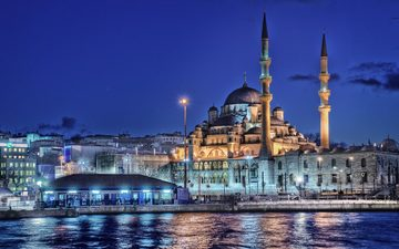 night, lights, sea, home, turkey, istanbul, the minaret, new mosque