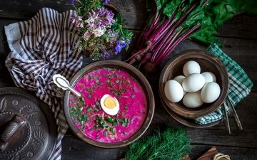 яйца, укроп, натюрморт, суп, свекла, ботва, свекольник