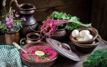 цветы, яйца, кувшин, укроп, суп, свекла, ботва, свекольник, натюрморт миски