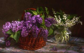 цветы, ландыши, весна, белые, сирень, букеты, лиловые