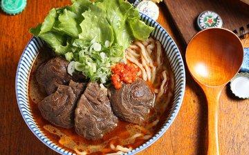 мясо, ложка, салат, суп, лапша