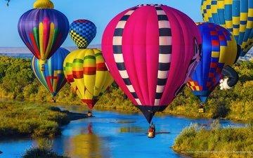 небо, шары, пейзаж, сша, спорт, воздушные, нью-мексико, штат, фестиваль, альбукерке
