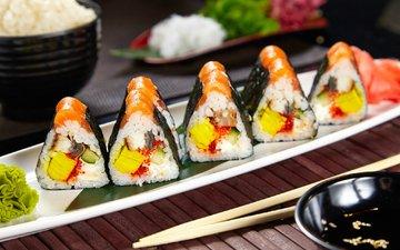 начинка, суши, роллы, лосось, вассаби, нори