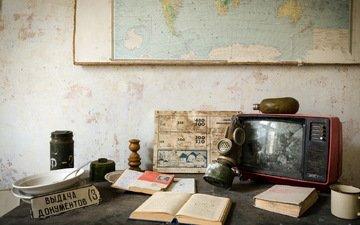 tv, map, book