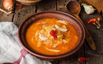 ложка, перец, миска, суп