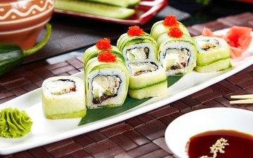 соус, начинка, суши, роллы, васаби, огурец, вегетарианский