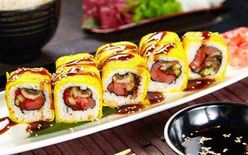 начинка, суши, роллы, японская кухня, кунжут, вассаби, соевый соус, нори