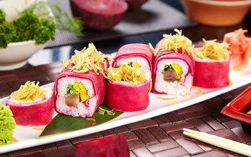 начинка, суши, роллы, васаби, свекла, вегетарианские