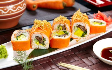 морковь, соус, рис, начинка, суши, роллы, васаби, вегетарианские