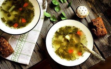 хлеб, овощи, тарелки, ложка, суп, солонка