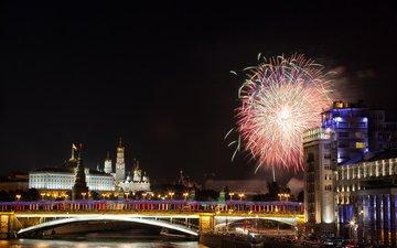 ночь, река, москва, салют, кремль, мост, россия