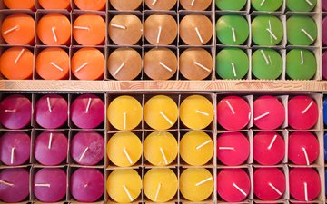 candles, a lot, colored, candle