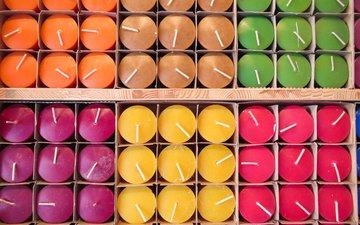 свечи, много, цветные, свечки