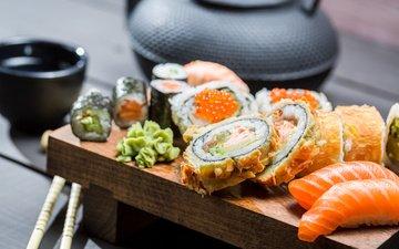 чайник, икра, палочки, суши, роллы, японская кухня, лосось, вассаби, горчица, соевый соус