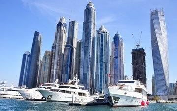 яхты, небоскребы, порт, дубаи, высотки, дубай, harbor