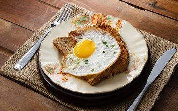 хлеб, тарелка, яичница, яицо