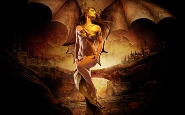 art, girl, fantasy, wings, the demon, sexy