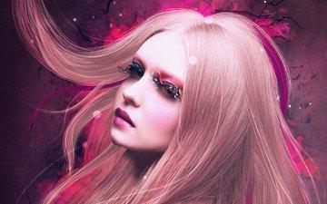 арт, девушка, фон, блондинка, взгляд, стена, волосы, макияж, ресницы