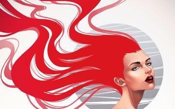 арт, девушка, фон, взгляд, плечи, губы, макияж, красные волосы