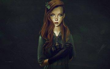 арт, платье, взгляд, лицо, противогаз, рыжие волосы
