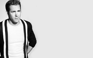 black and white, actor, male, ryan reynolds