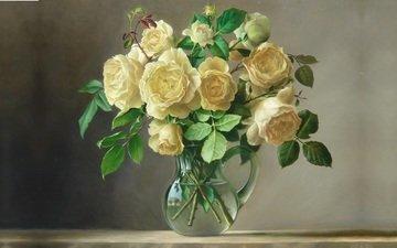 цветы, арт, вода, картина, розы, букет, живопись, кувшин, букет цветов, pieter wagemans