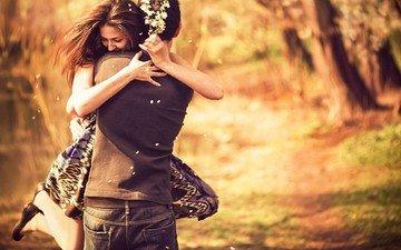 цветы, девушка, парень, любовь, пара, daragoste