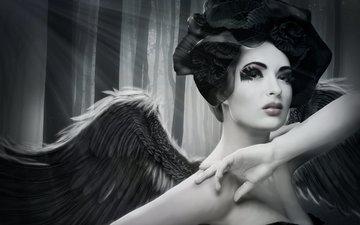деревья, девушка, взгляд, ангел, лицо, макияж, руки. крылья