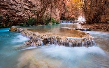 деревья, река, скалы, природа, ручей, водопад, каньон, сша, grand canyon, каскад, штат аризона, havasupai, michael wilson