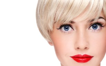 девушка, блондинка, голубые глаза, макияж, красные губы, стрижка
