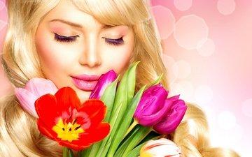 девушка, блондинка, модель, ресницы, весна. цветы