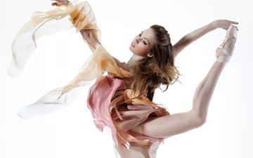 девушка, фон, взгляд, танец, макияж, балерина