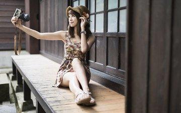 девушка, камера, азиатка