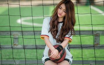 девушка, мяч, азиатка