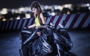 девушка, мотоцикл, азиатка