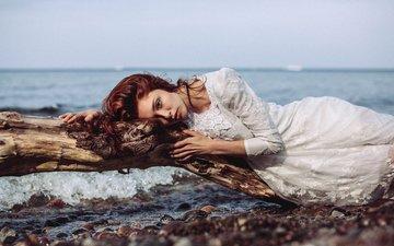 девушка, настроение, море, платье, бревно