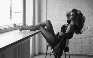 girl, pose, brunette, black and white, sitting, glass, photographer, figure, linen, sexy, slim, on the chair, window, silviu sandulescu