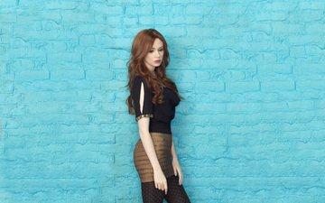 girl, red, skirt, tights, beauty, actress, blouse, brick wall, redhead, karen gillan