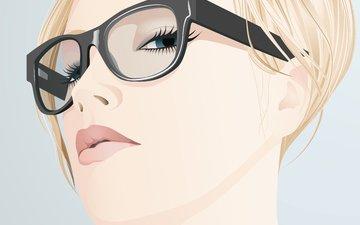 девушка, вектор, блондинка, взгляд, очки, лицо, ресницы