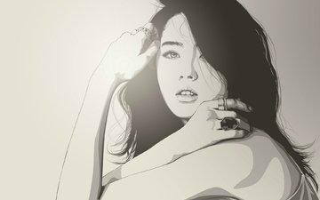 девушка, вектор, взгляд, кольцо, волосы, лицо, руки