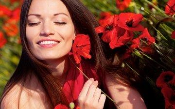 цветы, девушка, улыбка, смайл, цветы, сексапильная