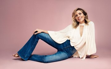 background, pose, smile, model, jeans, photographer, actress, clothing, hairstyle, white, brand, blouse, sienna miller, lindex, matteo montanari