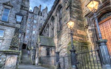 фонари, лестница, домики, шотландия, hdr, эдинбург