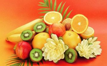 фрукты, апельсины, апельсин, персики, киви, персик, банан, бананы
